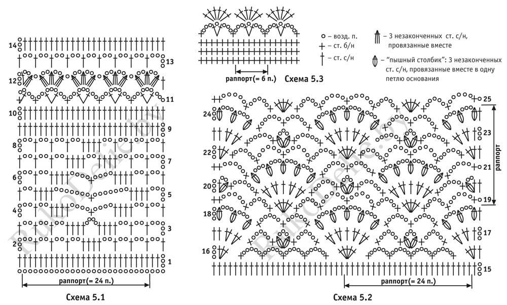 схемы вязания крючком туники