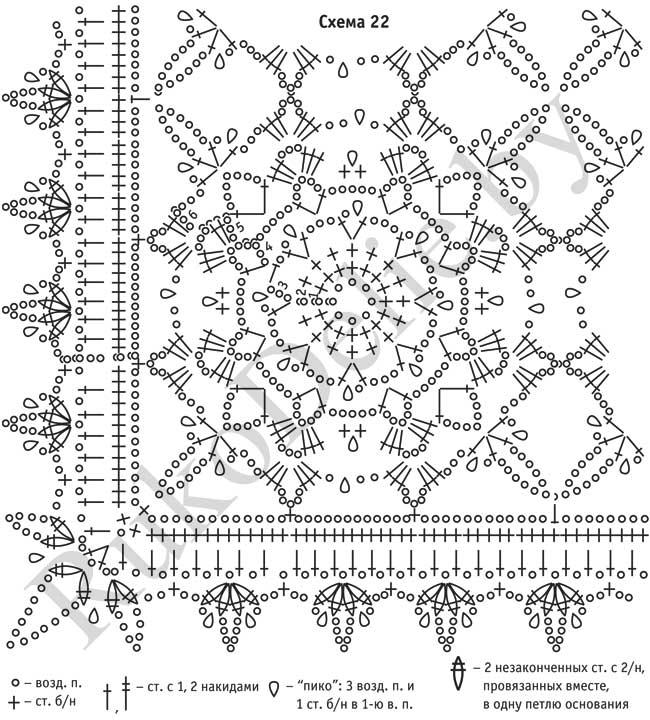 Вязание квадратов для шали крючком 475