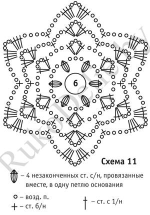 схема узора цветочного мотива