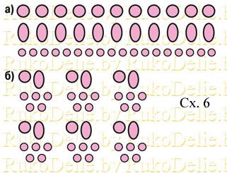 схема сортировки звеньев для плетения из бусин жемчуга