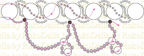 схема плетения украшения из бисера и бусин