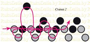 схема низания ожерелья из бус