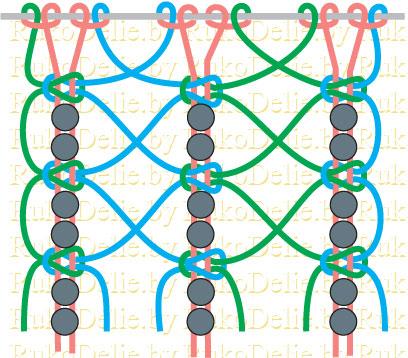 схема плетения пояса в технике
