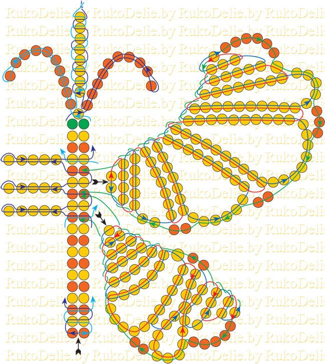 схема плетения бабочки из
