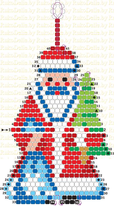 схема плетения Деда Мороза из