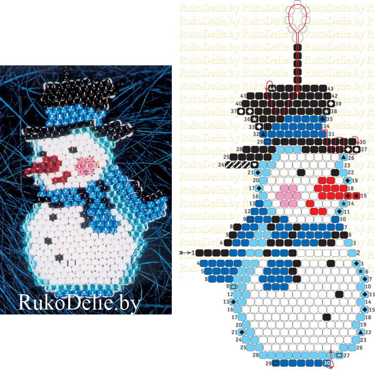 схема плетения Снеговика из