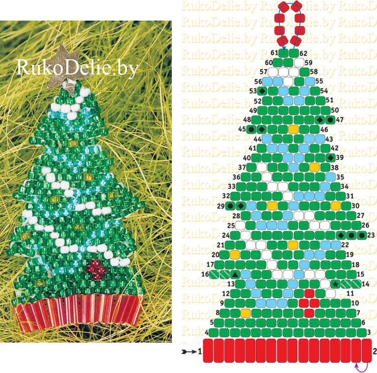 схема плетения елочки из