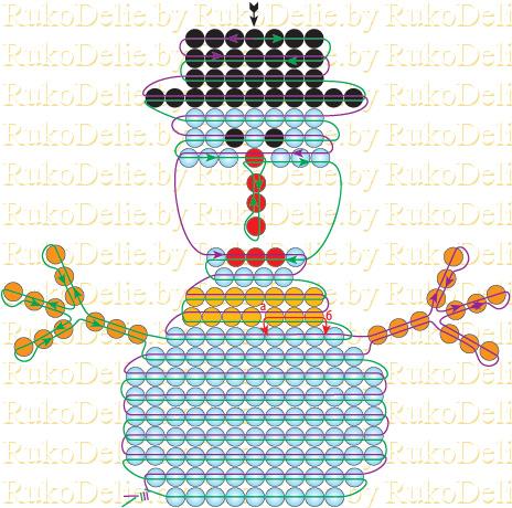 Бисер снегурочка схема