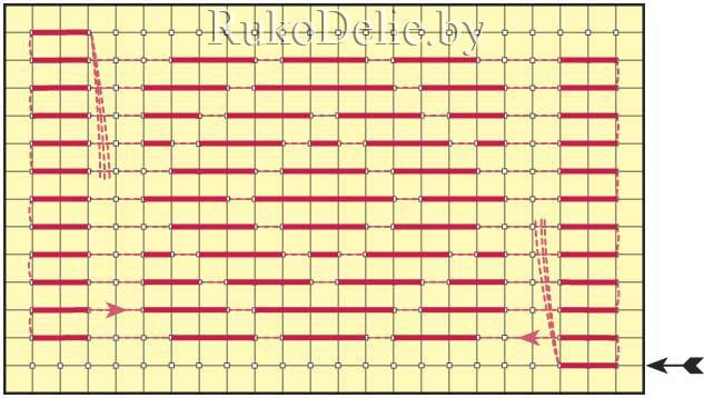 схема выполнения поворота в продольном наборе с помощью вертикального стежка на изнанке