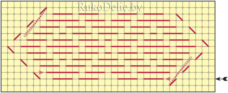 схема поворота по контуру угла наборного узора