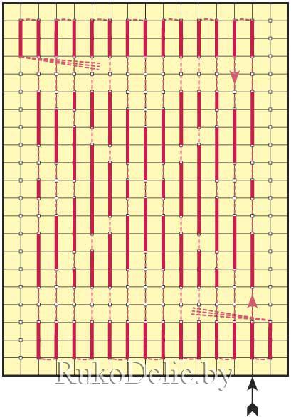 схема выполнения поворота в поперечном наборе с помощью горизонтального стежка на изнанке
