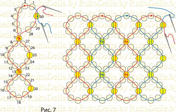 Техника плетения сетки из бисера.
