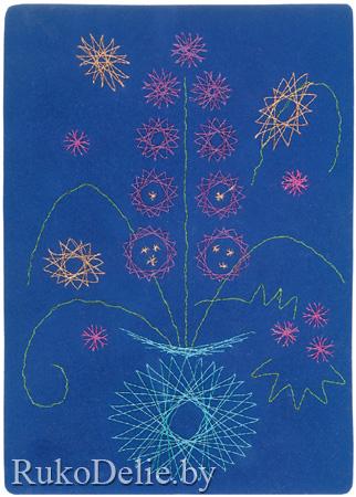 """Стебли цветов (отмечены на схемах серыми линиями) вышивай короткими стежками швом  """"вперед иголку """": пройдя в одном..."""