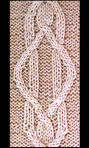 Knitted pattern with cabled and crossed stitches