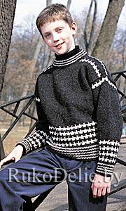 Пуловер для подростка, вязаный спицами