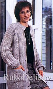 Жакет, связанный на спицах польской резинкой