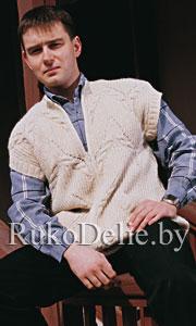 Вязаный спицами мужской жилет с косым карманом