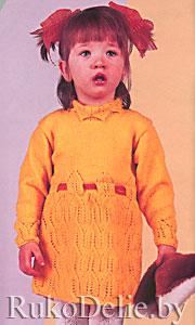 Платье детское, вязаное на спицах