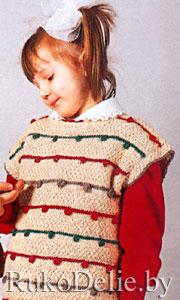 Безрукавка для девочки, связанная на спицах. роспись по ткани. Подписка. english version. вышивка гладью, крестиком