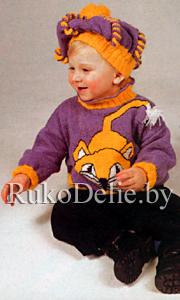 Берет для ребенка 1-3 лет, вязаный спицами