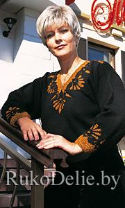 Вязаный спицами нарядный пуловер c отделкой нитью ''люрекс''