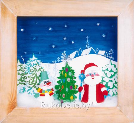 Декоративная композиция ''Новогодняя ночь'', выполненная из бумаги и картона