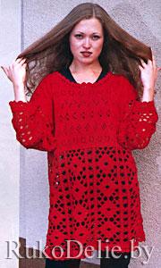 Нарядный женский пуловер, вязаный спицами и крючком