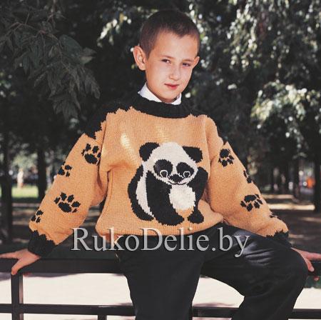 детский пуловер с пандой