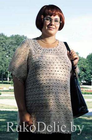 Удлиненный летний пуловер для полных женщин