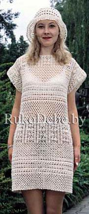 Ажурное летнее платье, вязаное крючком