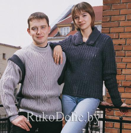 Пуловер-жилет мужской, вязаный спицами