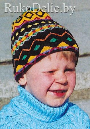 Детская шапочка с жаккардовым узором