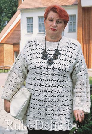Женский пуловер, вязаный крючком