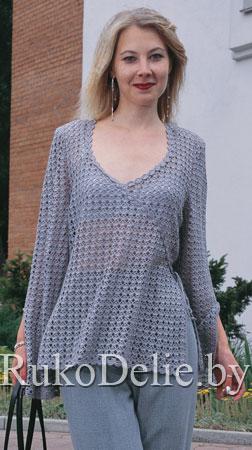 Ажурный пуловер с имитацией запаха
