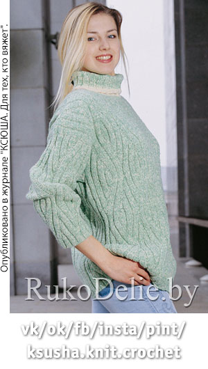 Вязание на спицах свитера из меланжа