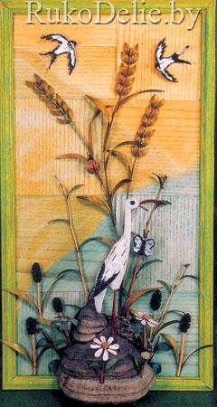 Картины из коры деревьев веточек корней 88