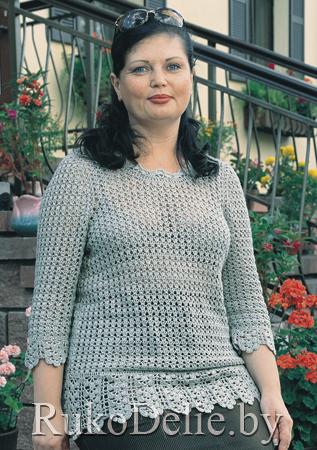 вязаный крючком пуловер с рукавом 34 пуловеры женская одежда