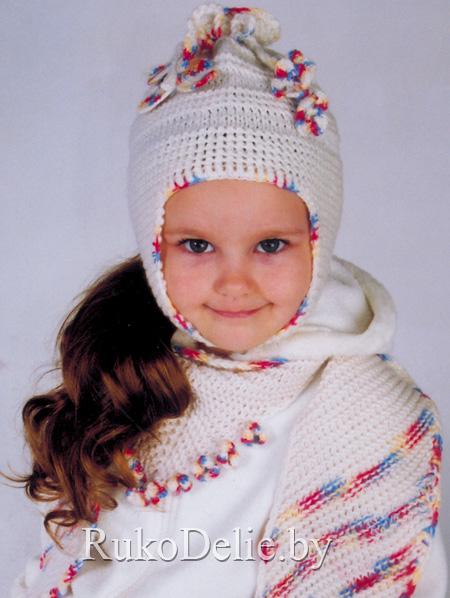 вязаная спицами шапочка с ушками модели одежды для девочек