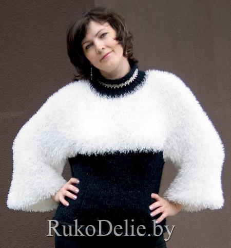 чёрно белый пуловер из меховой пряжи пуловеры женская одежда