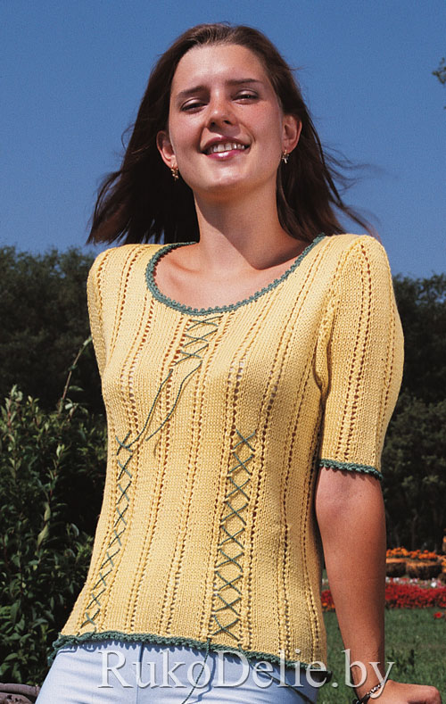 вязаный спицами пуловер с коротким рукавом летние вещи женская