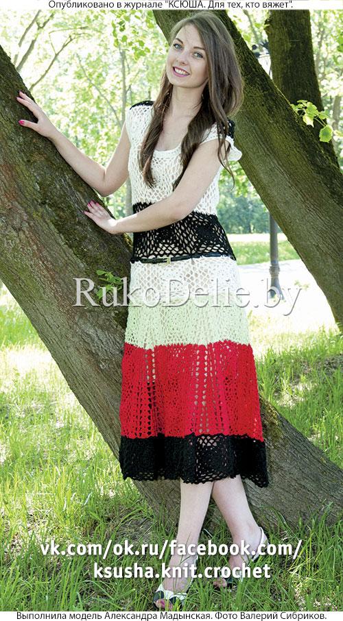 платье крючком из квадратных мотивов с юбкой клеш платья и